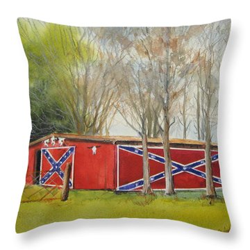 Flag Barn Throw Pillow