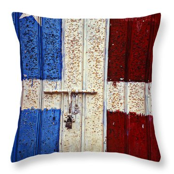 Flag Door Throw Pillow by Garry Gay