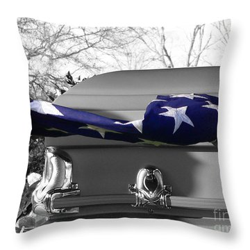 Flag For The Fallen - Selective Color Throw Pillow by Al Powell Photography USA