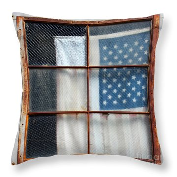 Flag In Old Window Throw Pillow