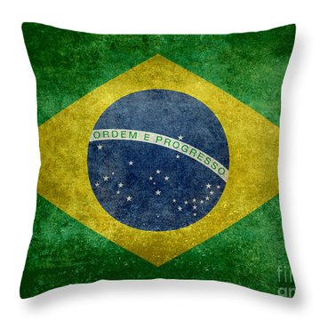 Flag Of Brazil Vintage 18x24 Crop Version Throw Pillow
