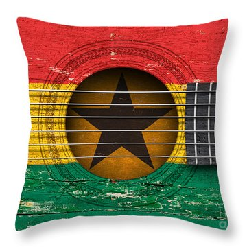 Flag Of Ghana On An Old Vintage Acoustic Guitar Throw Pillow