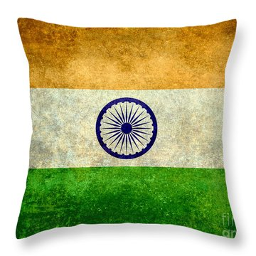 Flag Of India Vintage 18x24 Crop Version Throw Pillow