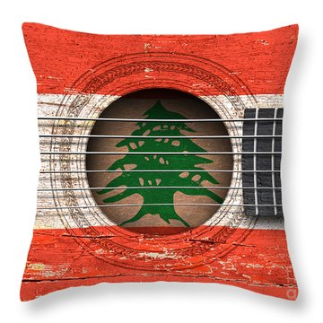 Flag Of Lebanon On An Old Vintage Acoustic Guitar Throw Pillow