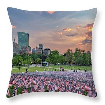 Flag Sunset On Boston Common Throw Pillow