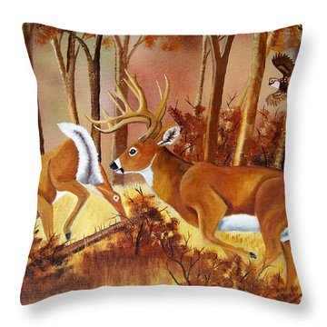 Flagging Deer Throw Pillow by Debbie LaFrance
