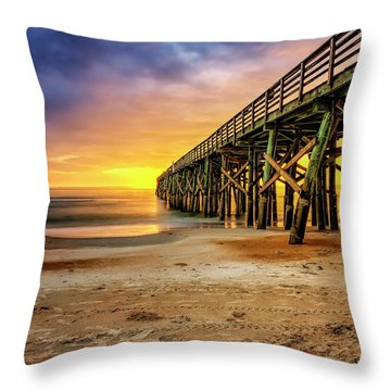 Flagler Beach Pier At Sunrise In Hdr Throw Pillow
