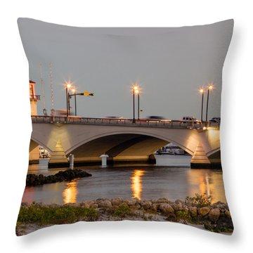 Flagler Bridge In Lights Iv Throw Pillow