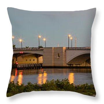 Flagler Bridge In Lights Panorama Throw Pillow