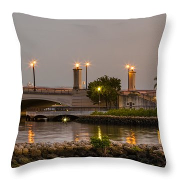 Flagler Bridge In Lights V Throw Pillow