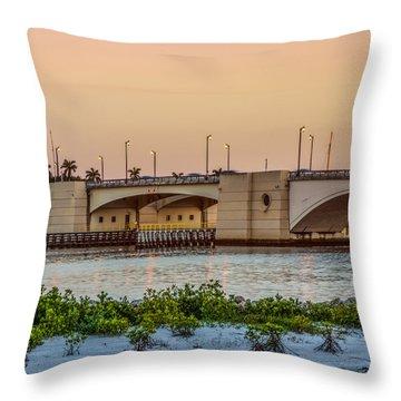 Flagler Bridge In The Evening II Throw Pillow