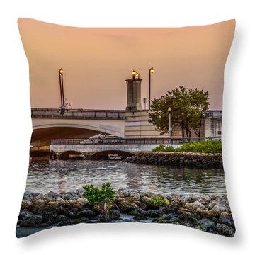 Flagler Bridge In The Evening Iv Throw Pillow