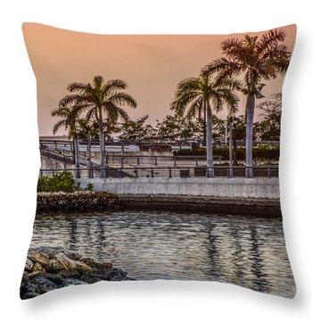 Flagler Bridge In The Evening V Throw Pillow