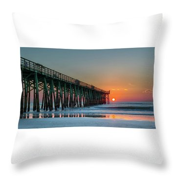 Flagler Pier Sunrise Throw Pillow