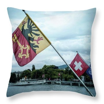 Flags & Ferry Throw Pillow
