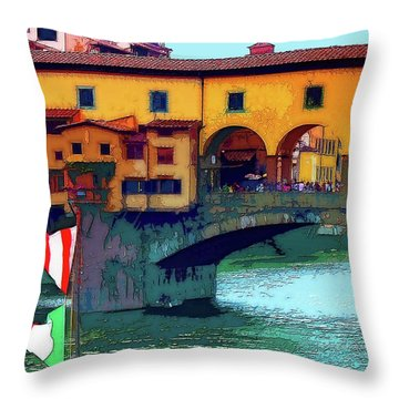 Flags At Ponte Vecchio Bridge Throw Pillow