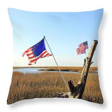 Flags Near Tybee Throw Pillow