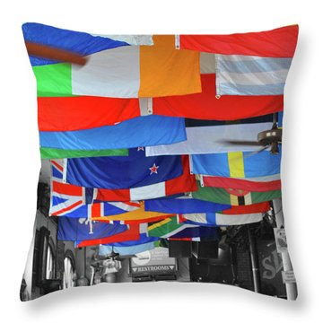 Throw Pillow featuring the photograph Flags Of Sloppy Joes by Jost Houk