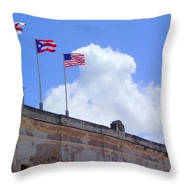 Flags Over San Cristobal Throw Pillow by Lois Lepisto