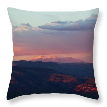 Flagstaff's San Francisco Peaks Snowy Sunset Throw Pillow by Ron Chilston