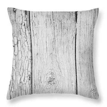 Throw Pillow featuring the photograph Flaking Grey Wood Paint by John Williams