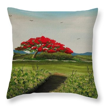 Flamboyan A La Orilla Del Rio Throw Pillow