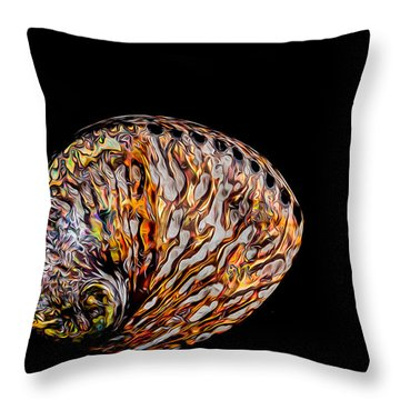 Flame Abalone Throw Pillow by Rikk Flohr