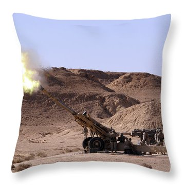 Flame And Smoke Emerge From The Muzzle Throw Pillow by Stocktrek Images