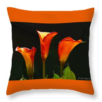 Flame Calla Lily Flower Throw Pillow by K L Kingston