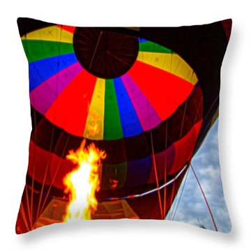 Flame Thrower Throw Pillow by Cathy Donohoue