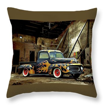 Flamed Pickup Throw Pillow