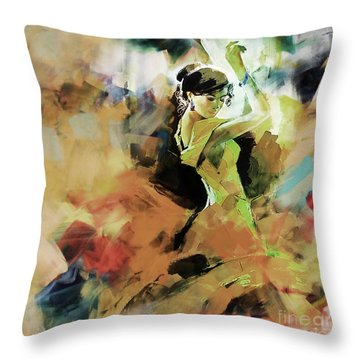 Throw Pillow featuring the painting Flamenco 56y3 by Gull G