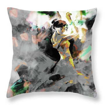 Throw Pillow featuring the painting Flamenco Dance Art 7u7 by Gull G