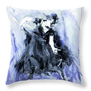 Throw Pillow featuring the painting Flamenco Dancer Art 45h by Gull G