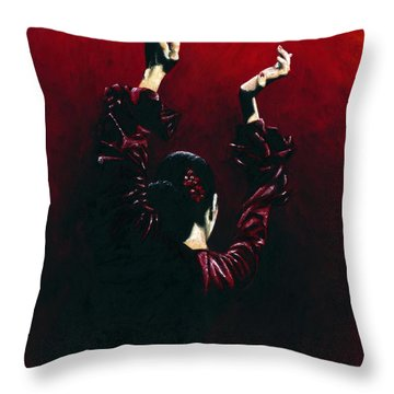 Flamenco Fire Throw Pillow by Richard Young