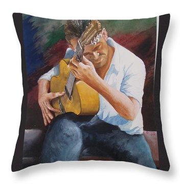 Flamenco Guitar Throw Pillow by Charles Hetenyi
