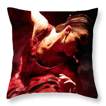 Throw Pillow featuring the painting Flamenco Poise by James Shepherd