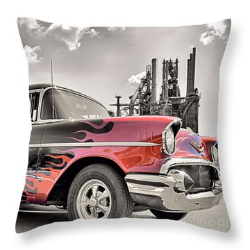 Flamin' 57 Throw Pillow by DJ Florek