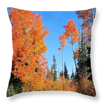 Flaming Autumn Trees In Dixie National Forest Utah Throw Pillow by Deborah Moen