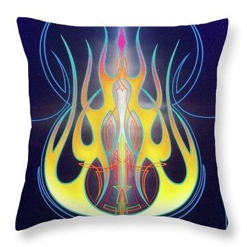Throw Pillow featuring the painting Flaming Bass Note by Alan Johnson