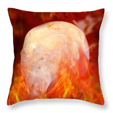 Flaming Crystal Skull Throw Pillow by Terri Waters