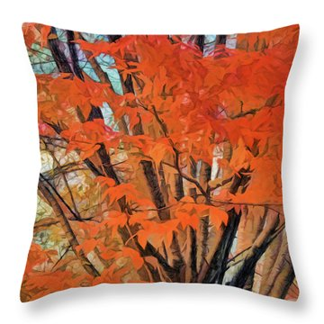 Throw Pillow featuring the digital art Flaming Fall Foliage by Terry Cork