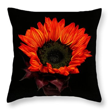 Throw Pillow featuring the photograph Flaming Flower by Judy Vincent