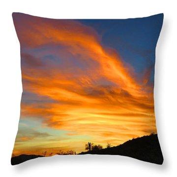 Flaming Hand Sunset Throw Pillow