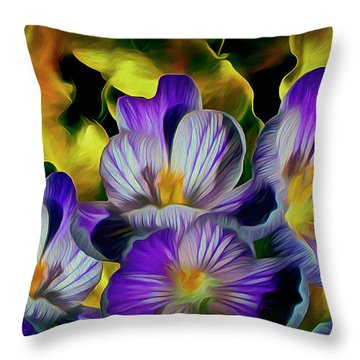 Throw Pillow featuring the mixed media Flaming Leaves And Crocuses 10 by Lynda Lehmann