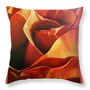 Flaming Rose Throw Pillow