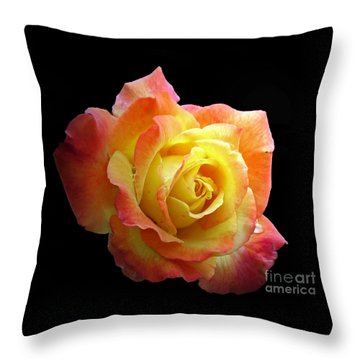 Flaming Rose On Black Throw Pillow