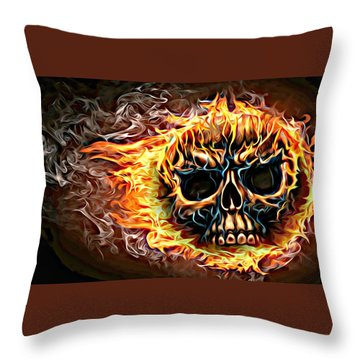 flaming skull Punk Gothic Biker Art Throw Pillow