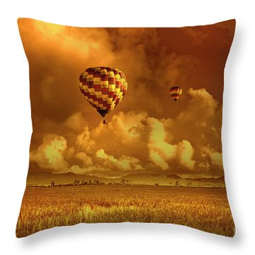 Throw Pillow featuring the photograph Flaming Sky by Charuhas Images