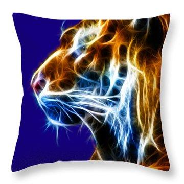 Flaming Tiger Throw Pillow